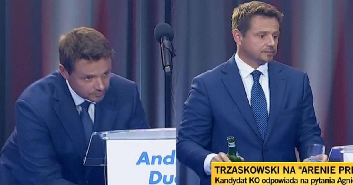 Mało kto zauważył. Trzaskowski w trakcie debaty nagle przerwał i zerwał się do dziennikarki.